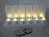 Remote rechargeable candle holder tea lights insert
