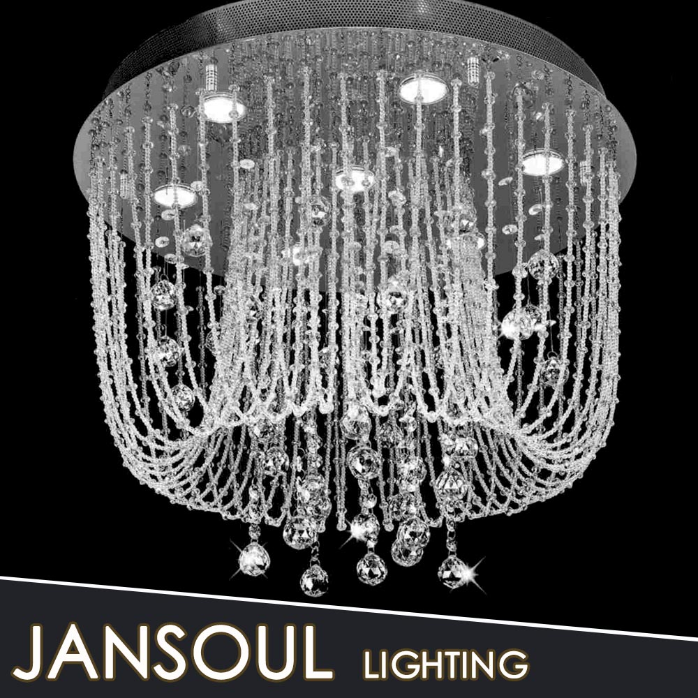 Jansoul Lighting Factory Decorative Crystal Ceiling Mounted Light Chrome Chri