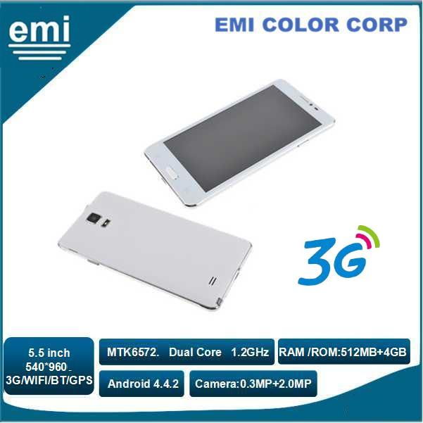 5.5 inch IPS Screen Mobile Phone MTK6572 Dual Core , Bluetooth, WIFI, 3G, GPS, FM Smart Phone