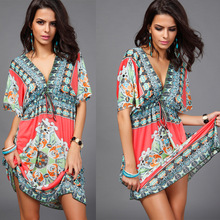 New fashion women clothing printed High quality loose V neck Backless lady dress
