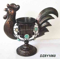 Cast Iron Rooster Flower Ornamental Garden Pot