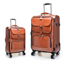 Fashion leather PU classical business suitcase trolley luggage