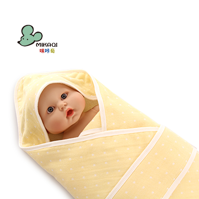 MIKAQI Fall and winter new product Pure cotton gauze newborn baby holding was Thick super soft blanket