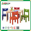 children learning table and chair, kids room writing table wood KD dining table