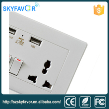 Wholesale Hot Sale Universal 220v receptacle outlets 2 usb 2 gang wall socket for home