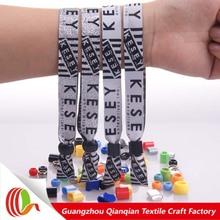 Cheap party giveaways polyester design woven best wristbands