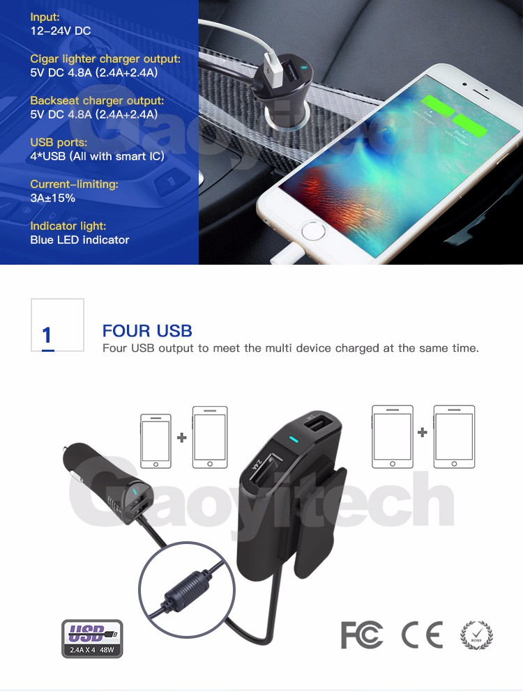2017 Fashional 4 USB car charger mount 9.6A car adapter fast charging charger
