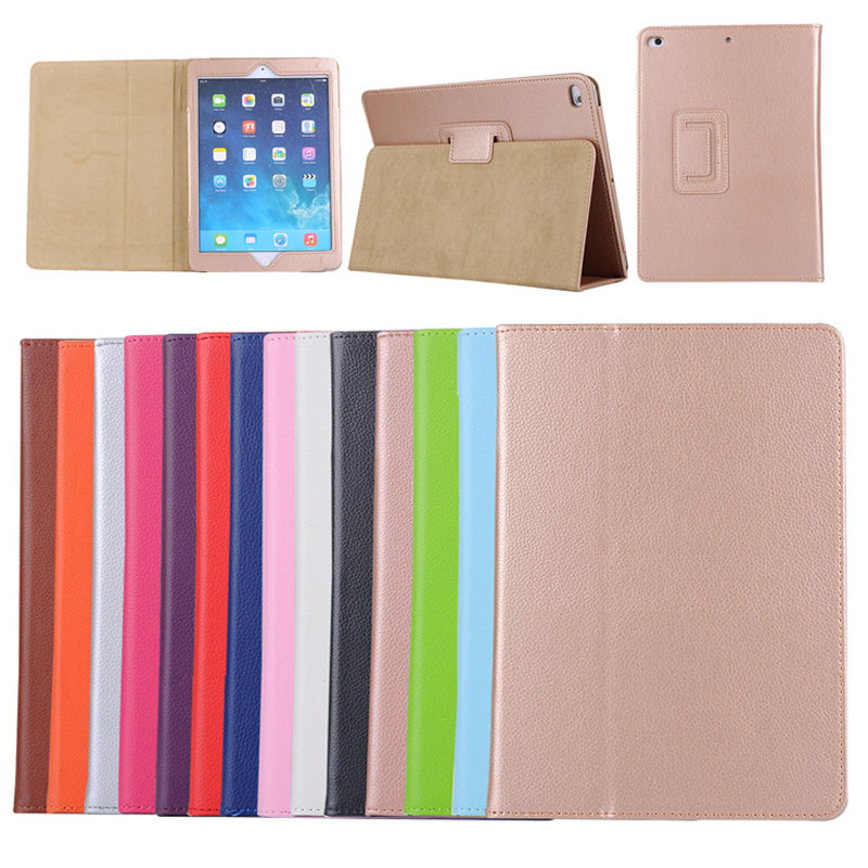 Factory Price Litchi Pattern Double Fold PU Leather Protective Cover Cases for iPad 9.7 2017