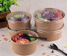 Food Grade Waterproof Kraft Paper Bowl Biodegradable Disposable Paper Salad Bowl
