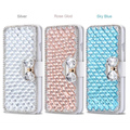 Diamond bow stickers phone shell PU Leather case new design back cover for iPhone 7 7 Plus