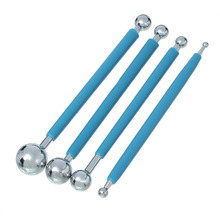 Blue Stainless Steel & Rubber Handle Metal Ball Flower Modeling Sugarcraft Fondant Cake Decorating Baking Tools