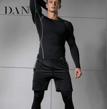 2018 Trend Men's Running Fitness Clothes Long Sleeve Gym Sports Suits Quick Dry Yoga Tights Three Piece Suit