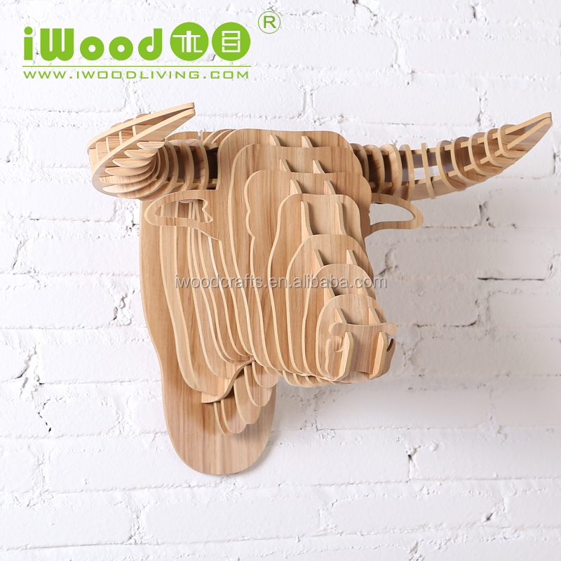 Wooden craft Bull decoration pieces making