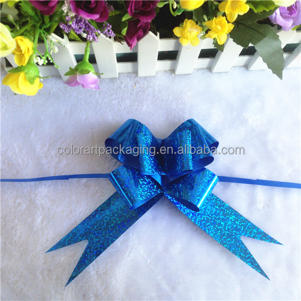Blue Holographic Ribbon Laser Butterfly Bow for gift packing