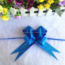 Nice holographic mini blue ribbon craft bow for gift wrapping