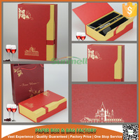 High-end cardboard leather wine carrier box,wine box cover