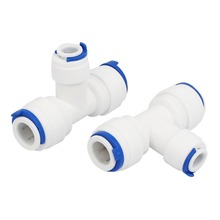 3/8-inch x 3/8-inch x 1/4-inch T Shaped 3 Way Tube Quick Push in Connector 3pcs for Water System