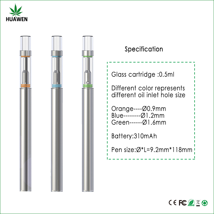 High quality cbd oil cartridge glass vape pen vaporizer with .5ml tank disposable vape pen
