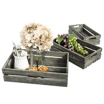 new products Farmhouse Style Barnwood Gray Wood Nesting Crates Rustic Open Top Storage Pallet Boxes