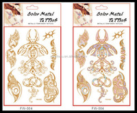 Color Change flash gold metallic henna fake body stocking tatoo temporary stickers arabic golds glitter large temporary tattoos