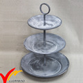Rustic Gray Cake Stand Flower Pot Display Round Wire 3 Tier Metal Tray
