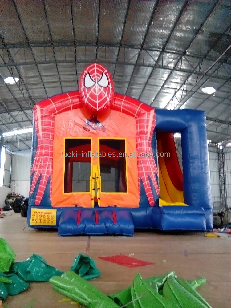 Giant spiderman inflatable bounce house slide