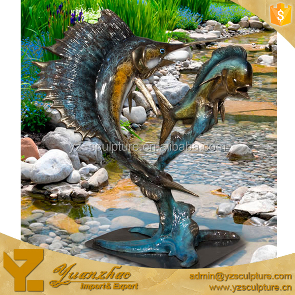 large size indoor brass ocean fish sculpture for home decoration