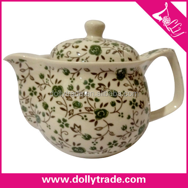 beautiful decal cheap ceramic teapot with infuser