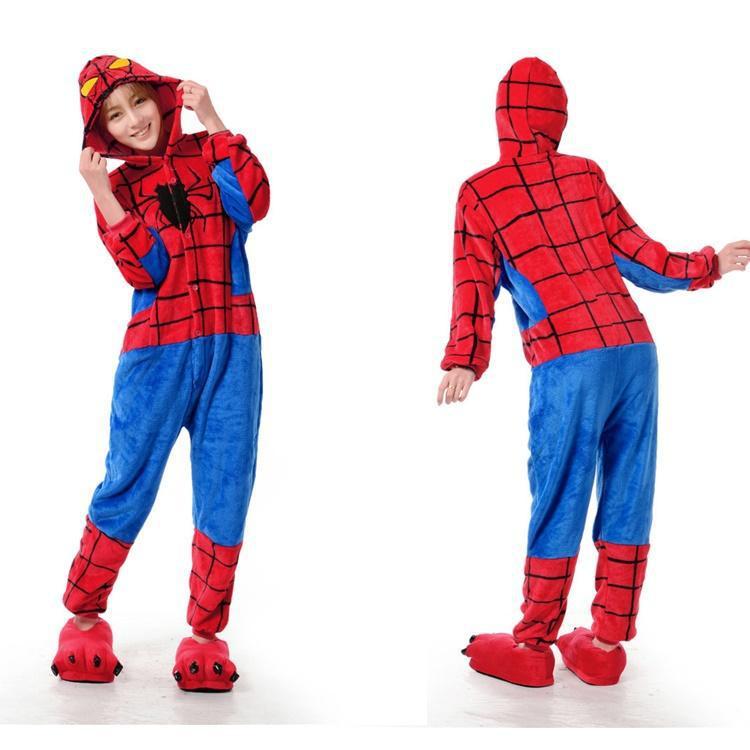 Get Quotations · Spider Man Superhero Onesies Animal Onesies Pajamas For  Adult Cute Women s One Piece Onesies Pajamas Hooded 0d39eb864