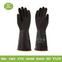 Heavy duty chemical resistant 90g black industry latex gloves manufacture