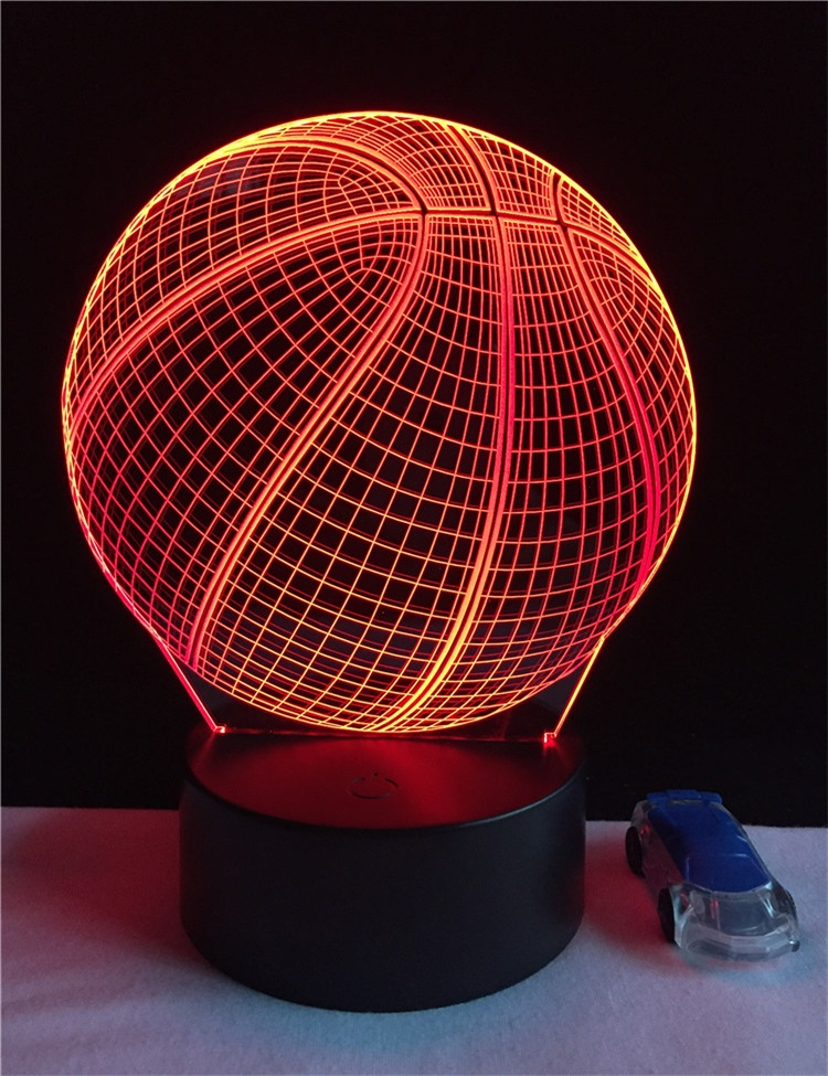 2018 Amazon Hot sale basketball 3D illusion lamp battery operated LED 3D acrylic lamp