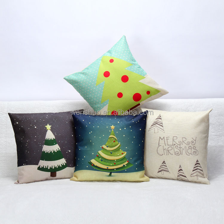 Christmas Tree Linen Office Sofa Pillows Cushhion Cover