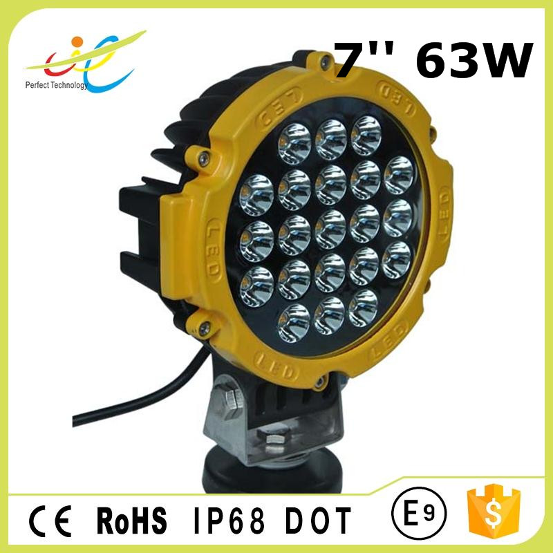 round aluminum housing auto led work light 63w led driving light for offroad truck vehicle car accessories