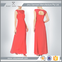 Pure Red Color New Design Chiffon Long Maxi Dresses