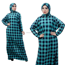Hot Selling Wholesale Clothing Women Long Sleeve Plaid Pakistani Muslim Islamic Galabeya Isdal Kaftan Jilbab Prayers Dresses