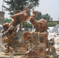 cloudy rosa marble garden decoration stone phoenix statues for sale