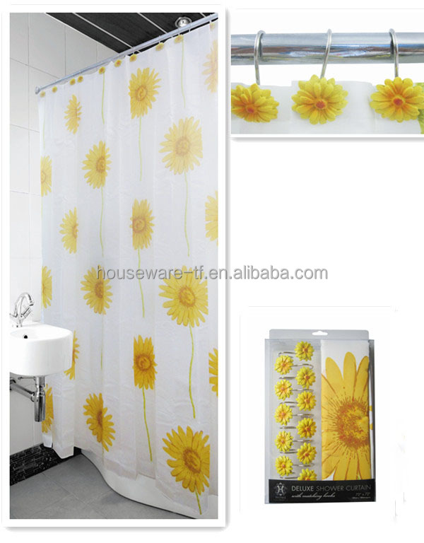 100 Polyester Yellow Flower Shower Curtain For Bathroom Accessories