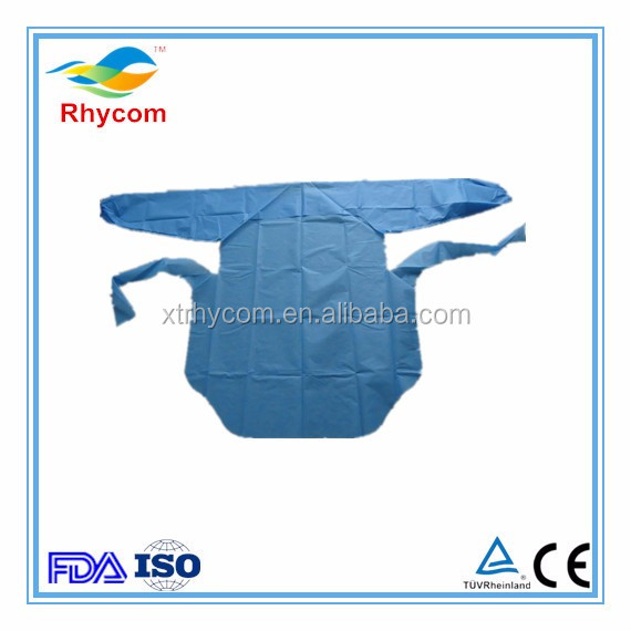 Popular Disposable plastic surgery CPE protective waterproof apron long sleeved from China hubei xiantao