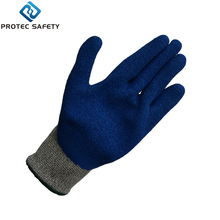 Level 3 cut-resistant palm coated blue latex crinkle finish hand gloves