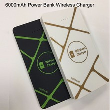 6000mAh Powerbank QI Wireless Charger for iphone flashing portable charging station for Samsung phones charging pad