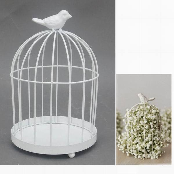 Antique decorative small white iron round metal bird cage for Petite cage a oiseaux decorative