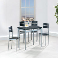 Wholesaler Modern Wooden restaurant Black dining table and chairs