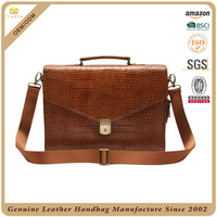 CSLRB025-001 Classic luxury crocodile pattern cow leather mens briefcases for business