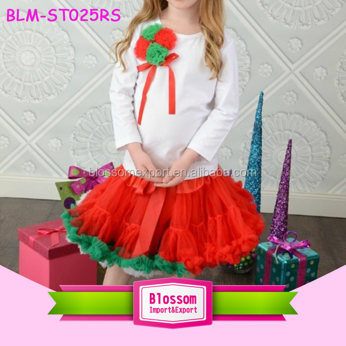 2017 Christmas Girl Suits White Tee Top And Red Tutu Skirts 2 pcs Outfit Fancy Christmas Girl Clothing Set