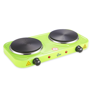 Double burner electric stove for cooking