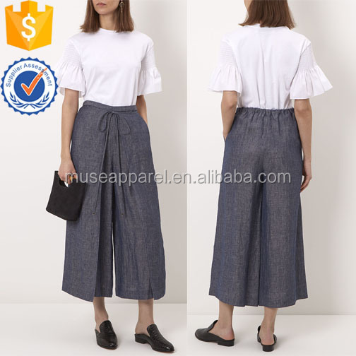 Indigo Blue Linen Culotte Trousers OEM/ODM Women Apparel Clothing Garment Wholesaler Ropa Mujer
