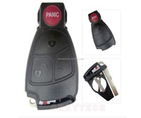 New 4 panic Buttons Smart Remote Key for Mercedes Benz C E ML w210 w203 key card shell Alarm Replacement car Key Fob Case logo