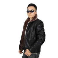 2015 Winter Casual OEM Wholesale Fur Black Leather Jacket Men SL-W502