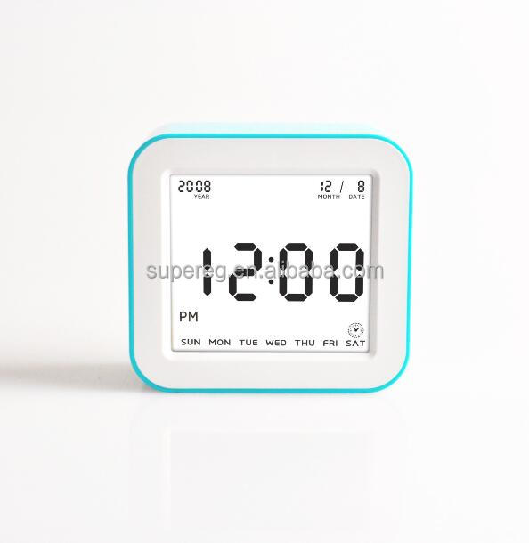 Simple square Korea style LCD candy color table/desk/bedside digital alarm clock, OEM silk printed private label