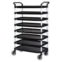 Trolley cart material handling for restaurant kitchen equipment